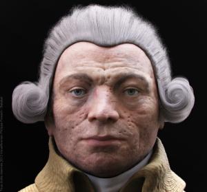 Robespierre vu par VisualForensic : regard vide en visage marqué. Un vrai méchant.