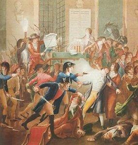 Robespierre touché par une balle dans la mâchoire lors de son arrestation.