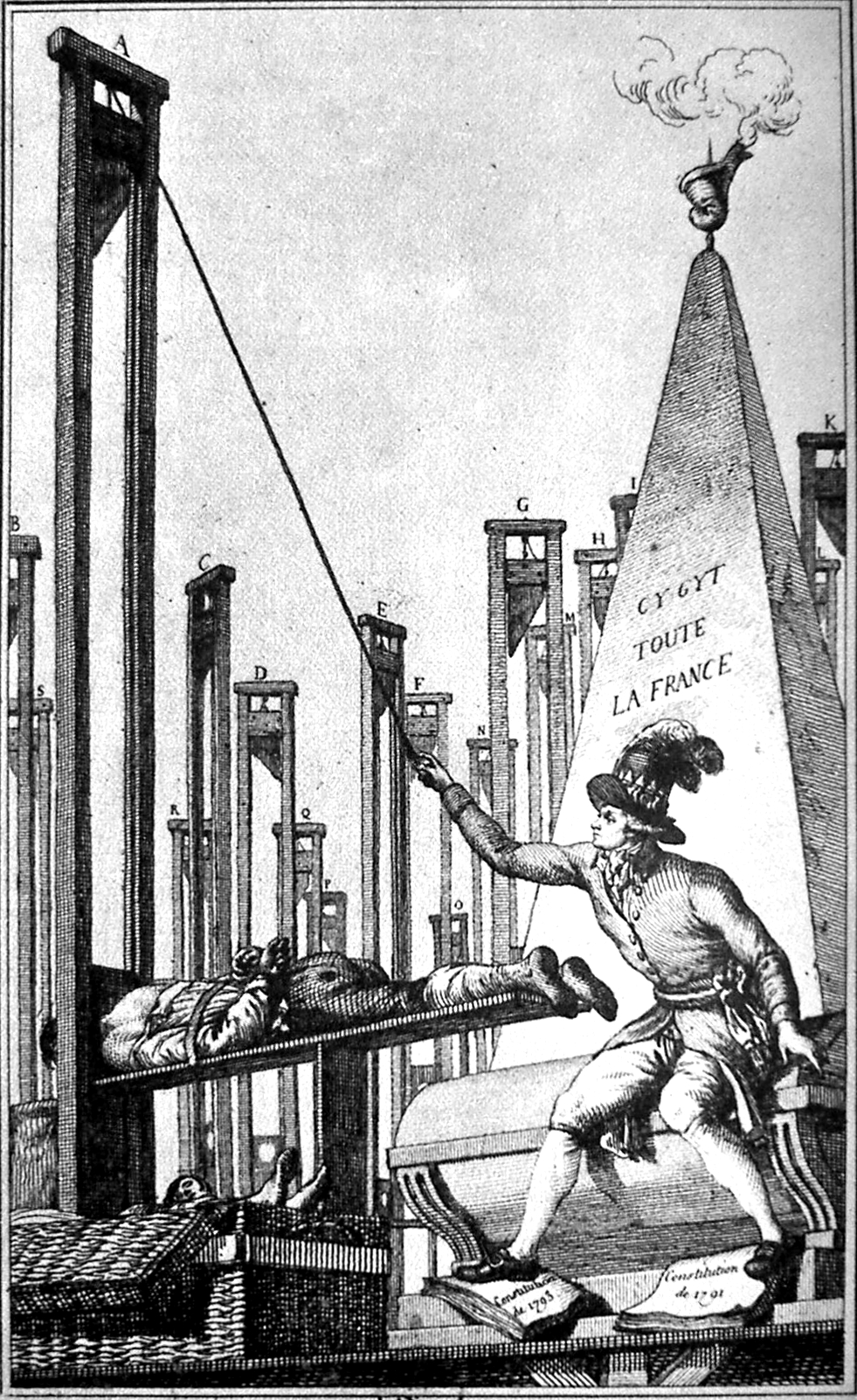 Robespierre guillotinant le bourreau après avoir exécuté toute la France   un exemple de caricature à