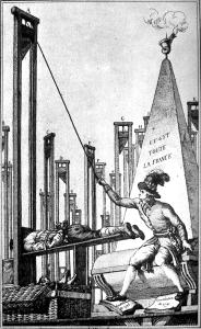 Robespierre guillotinant le bourreau après avoir exécuté toute la France : un exemple de caricature à charge.