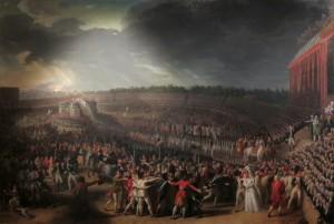 La fête de la Fédération vue par le peintre Charles Thévenin (peinture de 1792)