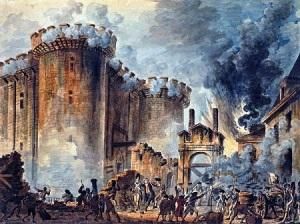 La prise de la Bastille vue par Jean-Pierre Houël en 1789, un classique des manuels scolaires.