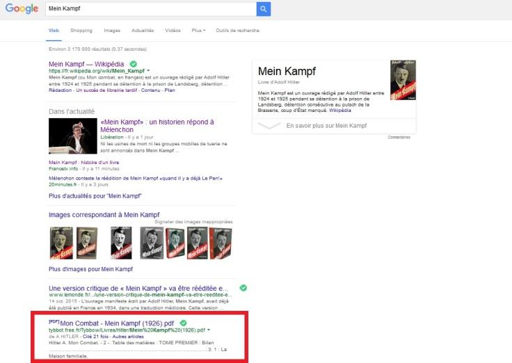 Une édition PDF de Mein Kampf se trouve dès les premiers résultats d'une recherche sur Google, en accès libre et gratuit... Autant dire qu'une édition papier changera la donne.