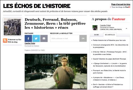 """La présence des """"historiens réacs"""" à la télévision est de plus en plus condamnée par les historiens (ici sur le bol du doctorant en histoire Camille Pollet)"""