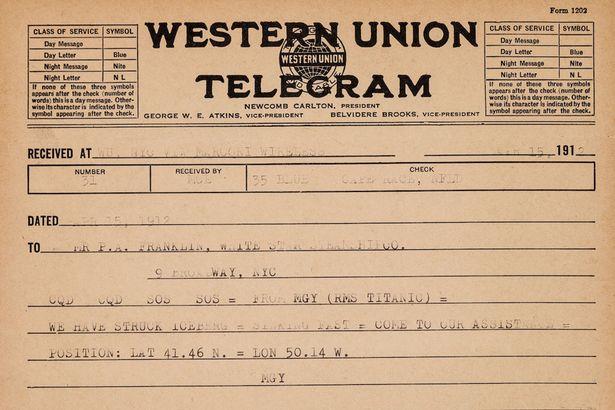 """Le texte peut être traduit ainsi : """"CQD CQD SOS SOS ; Du MGY (RMS Titanic) ; Nous avons heurté iceberg ; Coulons vite ; Venez à notre secours ; Position : Lat 41°46 N. Long 50°14 O."""" Pas vraiment un message que l'on enverrait à sa compagnie pour la prévenir de la situation."""