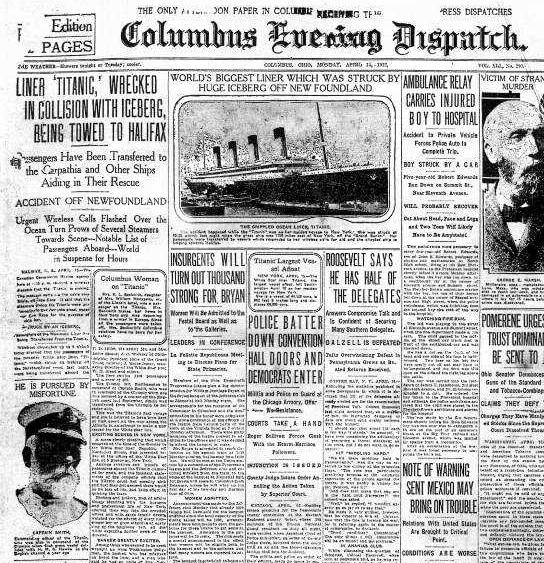 Au matin du 15 avril, alors que le Titanic a coulé depuis plusieurs heures, les journaux affirment qu'il est remorqué au Canada après un accident sérieux, mais non fatal.