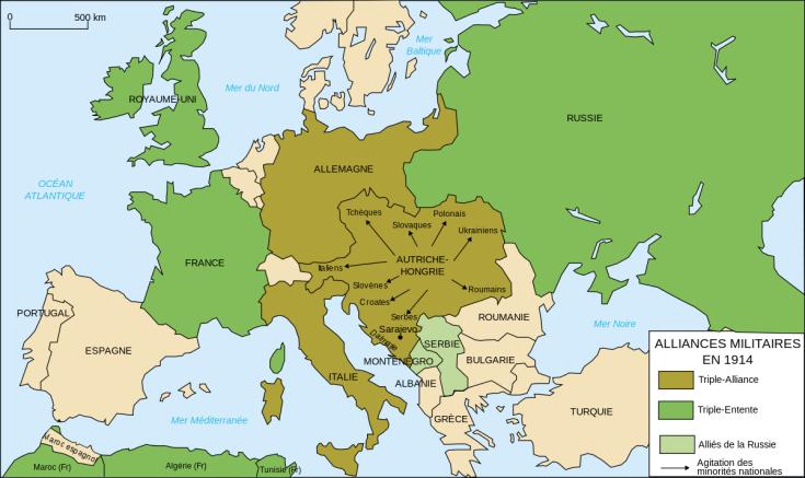 Les alliances européennes en 1914.