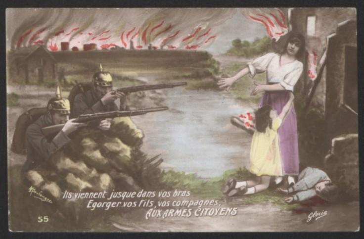 """Les cartes postales d'époque dénoncent avec force caricatures les horreurs des """"casques à pointes"""", forcément inhumains comparés à nos Poilus."""