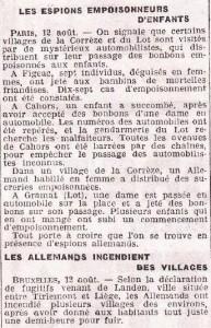 La diabolisation de l'ennemi est monnaie courante. Ici, l'Echo d'Alger fait courir des rumeurs selon lesquels des espions allemands empoisonneraient les enfants français... avec des bonbons.