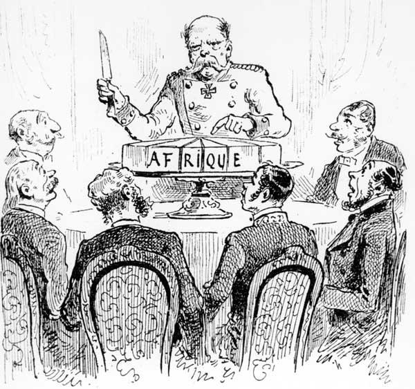 """La thématique du """"partage du gâteau"""" se retrouve régulièrement, tant au sujet de l'Afrique que de la Chine. Ici, dans l'Illustration du 3 janvier 1885, le chancelier Bismarck est représenté partageant le gâteau."""