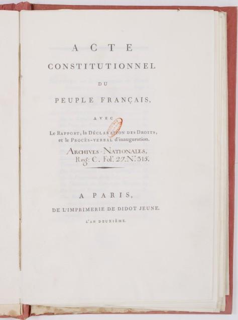 La Constitution de l'an I est probablement le texte constitutionnel le plus démocratique de la France. Elle ne fut jamais appliquée. (Lire en ligne)