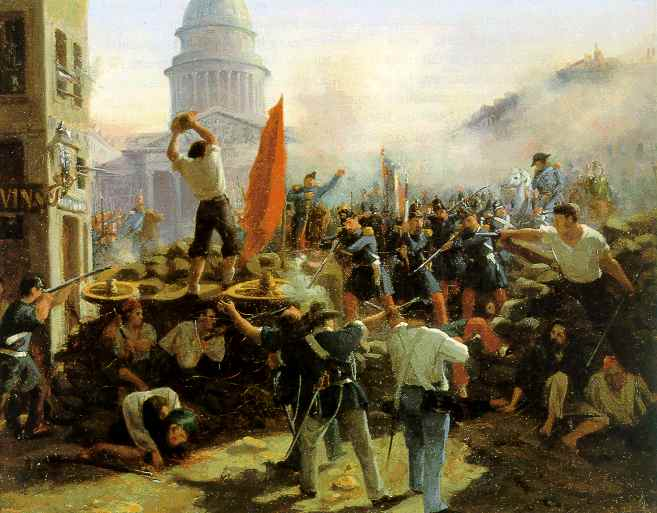 Les journées de juin 1848 (vues, ici, par Horace Vernet) ont vu bien plus de gens mourir pour leurs droits sociaux que n'avaient péri de gens pour le suffrage universel, quelques mois plus tôt.