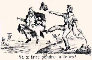 Caricature représentant Louis-Philippe chassé par la Révolution : fuyant en Angleterre sous le nom de Smith, Louis-Philippe y mourut deux ans plus tard.