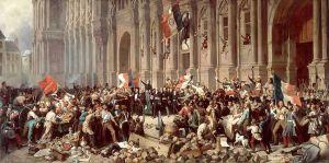 Lamartine devant l'hôtel de ville, refusant le drapeau rouge, tableau d'époque d'Henri Félix Emmanuel Philippoteaux