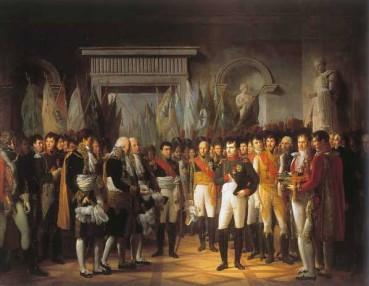 Napoléon reçoit au palais royal de Berlin les députés du Sénat, 19 novembre 1806 ; peinture de Berthon.