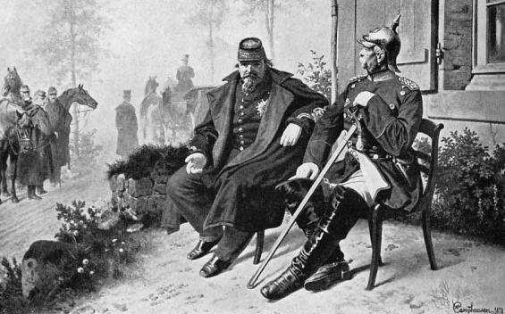 Les élections de 1871 se déroulèrent dans le contexte difficile de la défaite française. Cette gravure de 1878 représente ainsi Napoléon III, prisonnier de Bismarck, par la suite organisateur des élections.