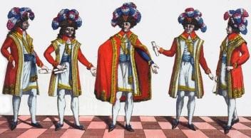 Sous le Directoire, l'exécutif était formé de cinq Directeurs, ici représentés dans leur costume officiel tricolore, pour éviter un monopole du pouvoir.