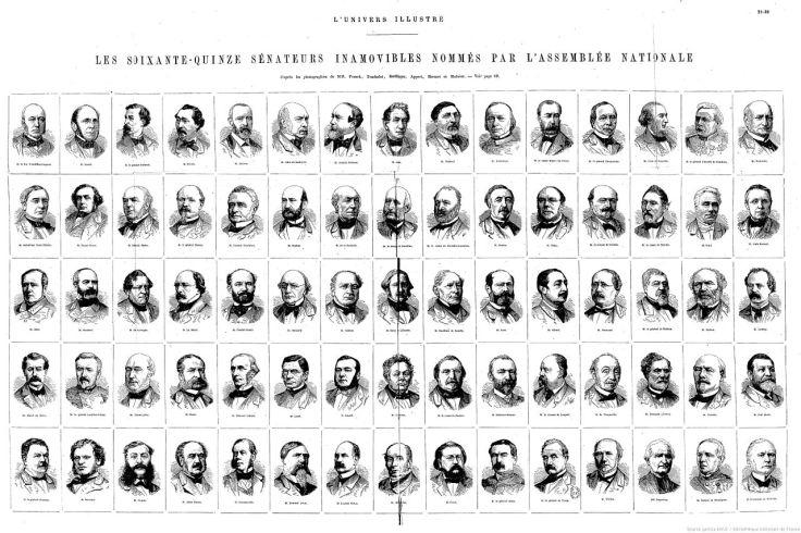 Les 75 premiers sénateurs à vie, en 1876.