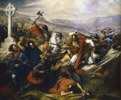 La bataille de Poitiers peinte sur commande de Louis-Philippe par Charles de Steuben. Les costumes très typés et la présence de la Croix, sans aucun rapport avec la réalité historique, servent à nourrir l'idée d'un conflit entre deux cultures, bien que les sources d'époque ne soutiennent pas cette idée.