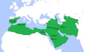 Le califat omeyyade au sommet de son expansion, en 750. 20 ans après la bataille de Poitiers, il s'effondrait à force de divisions internes.