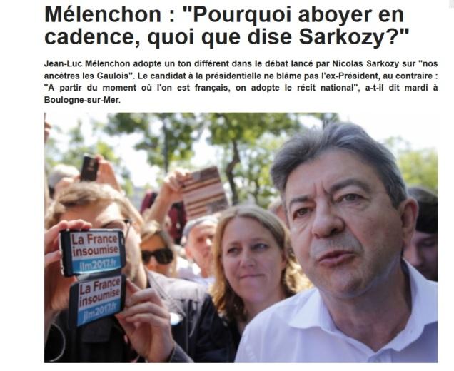 """Jean-Luc Mélenchon parle pour sa part de la nécessité d'adopter """"le récit national"""" (article du JDD)"""