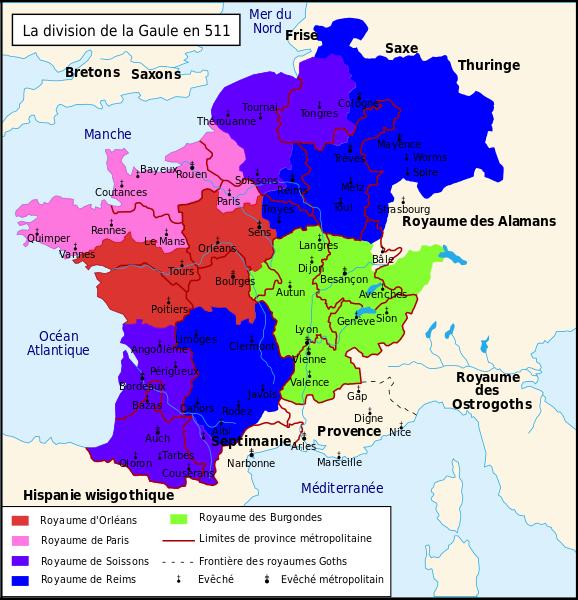 C'est vrai que notre France est beaucoup moins éternelle quand on montre la division du royaume après la mort de Clovis... (carte de Romain0 sur Wikimedia Commons)