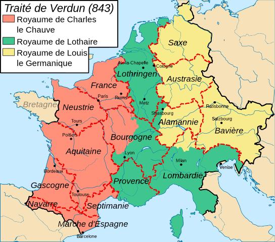 Pour Asselineau, si l'Empire avait été partagé en deux et non en trois, il n'y aurait pas eu de guerre. Pourquoi ? Parce que. (carte de FlyingPC sur Wikimedia Commons)