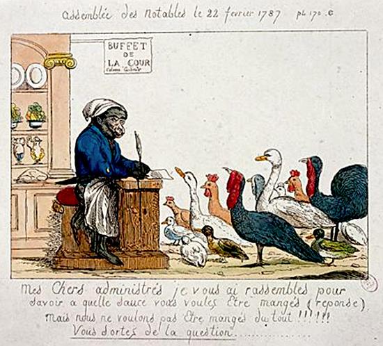 Calonne, représenté en singe cuisinier, demande aux notables-volailles à quelle sauce ils désirent être mangés.
