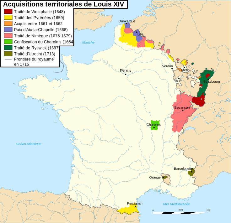 Ces annexions ont été réalisées progressivement sous le règne de Louis XIV ; celui de Louis XV fut plus modeste en la matière. Quoi qu'il en soit, au XVIIIe siècle, les frontières de la France étaient bien loin d'être gravées dans le marbre. (Carte réalisée sur Wikimedia Commons par FlyingPC)