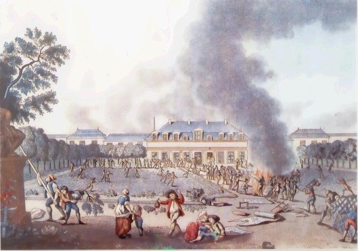 L'affaire Réveillon fut beaucoup plus populaires que la Journée des Tuiles. De fait, les représentations sont plus hostiles : ici, le dessin insiste ainsi sur les destructions, présentant des émeutiers saouls et violents.