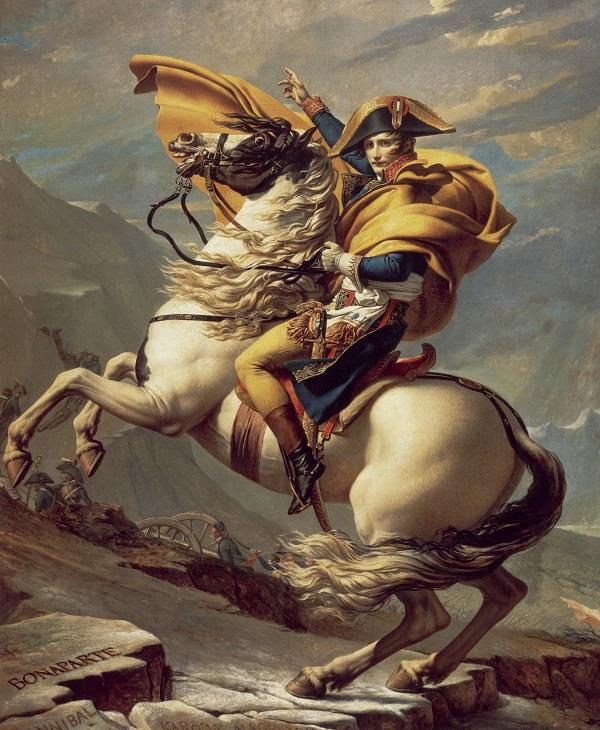 Portrait pompier de Bonaparte franchissant le col du grand Saint Bernard