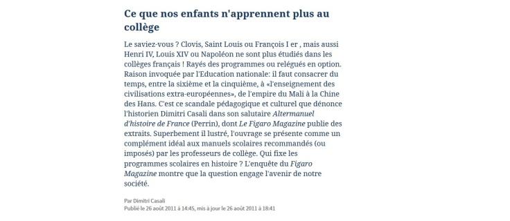 Article du Figaro par Dimitri Casali dénonçant la disparition des grands personnages des programmes d'histoire.
