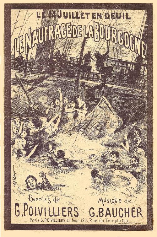 Couverture d'une partition sur le naufrage de La Bourgogne représentant des scènes de chaos
