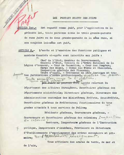 Première page du statut des juifs de 1940