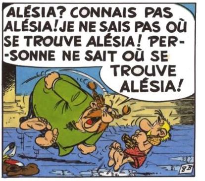 Abraracourcix hurlant sur Astérix que personne ne sait où se trouve Alésia