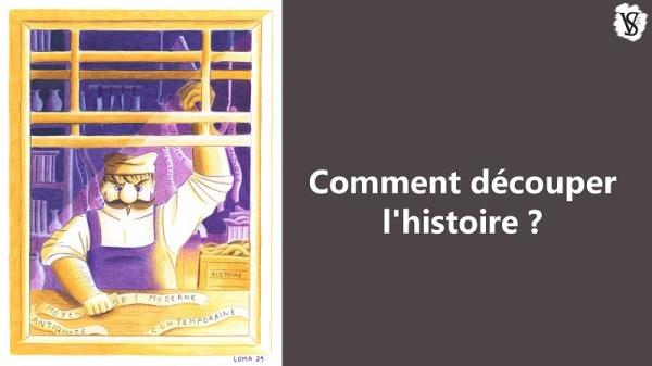 """Vignette de l'épisode """"Comment découper l'histoire"""" : un boucher coupe en tranches une frise chronologique."""