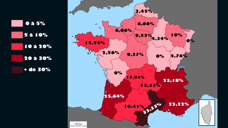 Carte représentant le pourcentage de vote d'opposition : celui-ci est très fort dans le sud et en Bretagne, beaucoup plus faible dans le nord est.