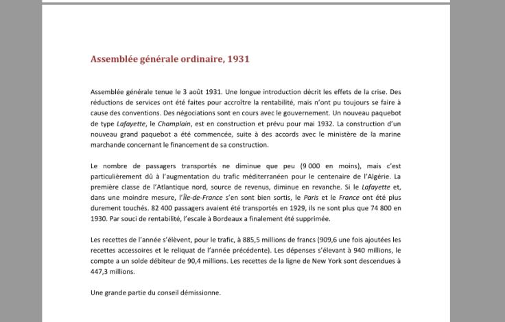 Page de mon document de travail sur les rapports du CA, résumant le rapport de 1931