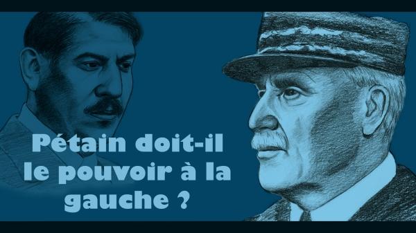 """Vignette de l'épisode """"Pétain doit-il le pouvoir à la gauche ?"""" représentant Pétain, et Laval à l'arrière plan."""
